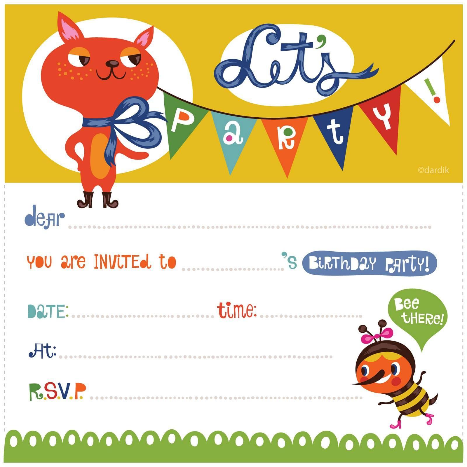 Free Printable Birthday Invitations For Kids Parties - Tutlin.psstech.co - Free Printable Birthday Invitations For Kids