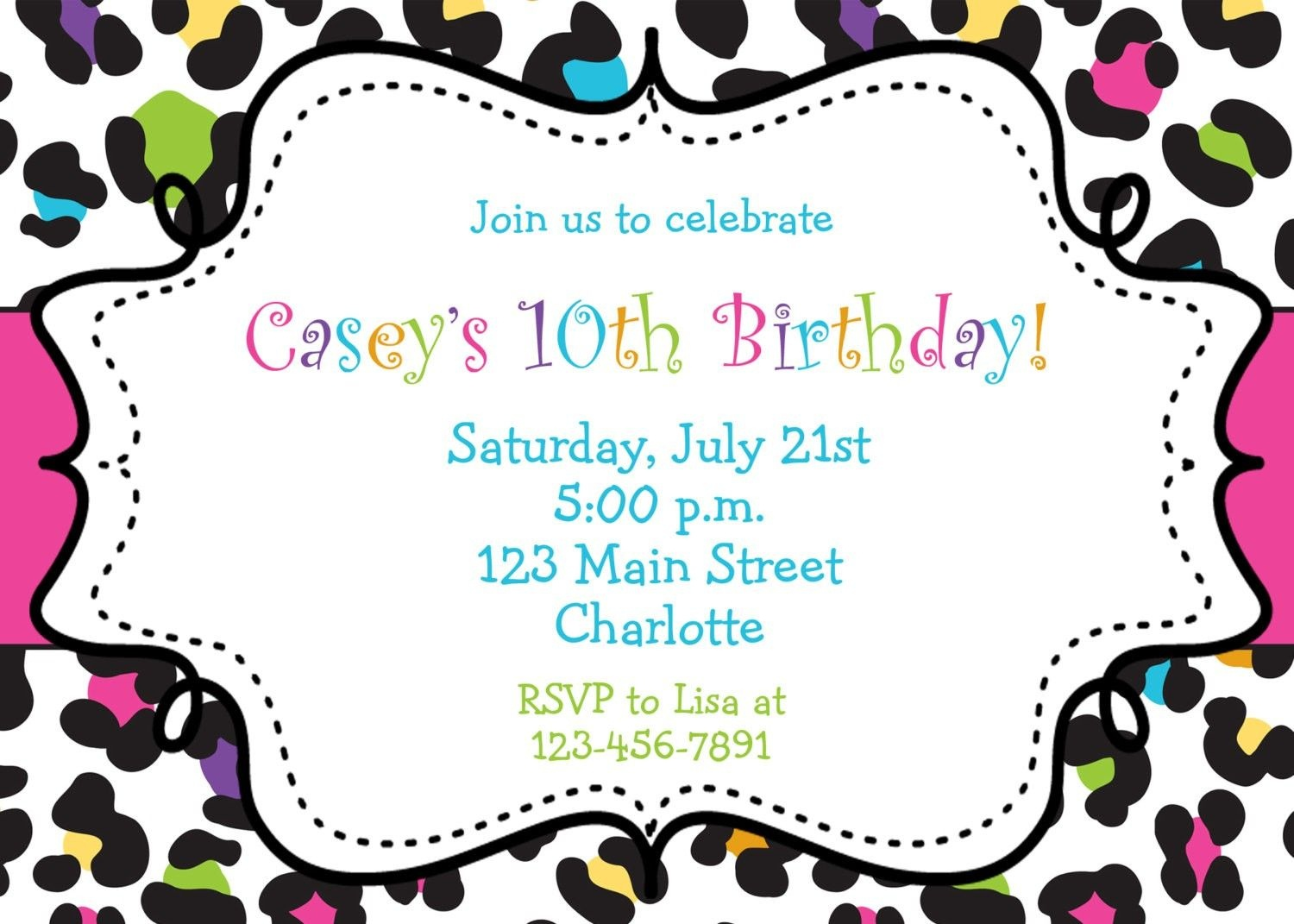 Free Printable Birthday Party Invitations For Girls | Holiday Stuff - Free Printable Cheetah Birthday Invitations