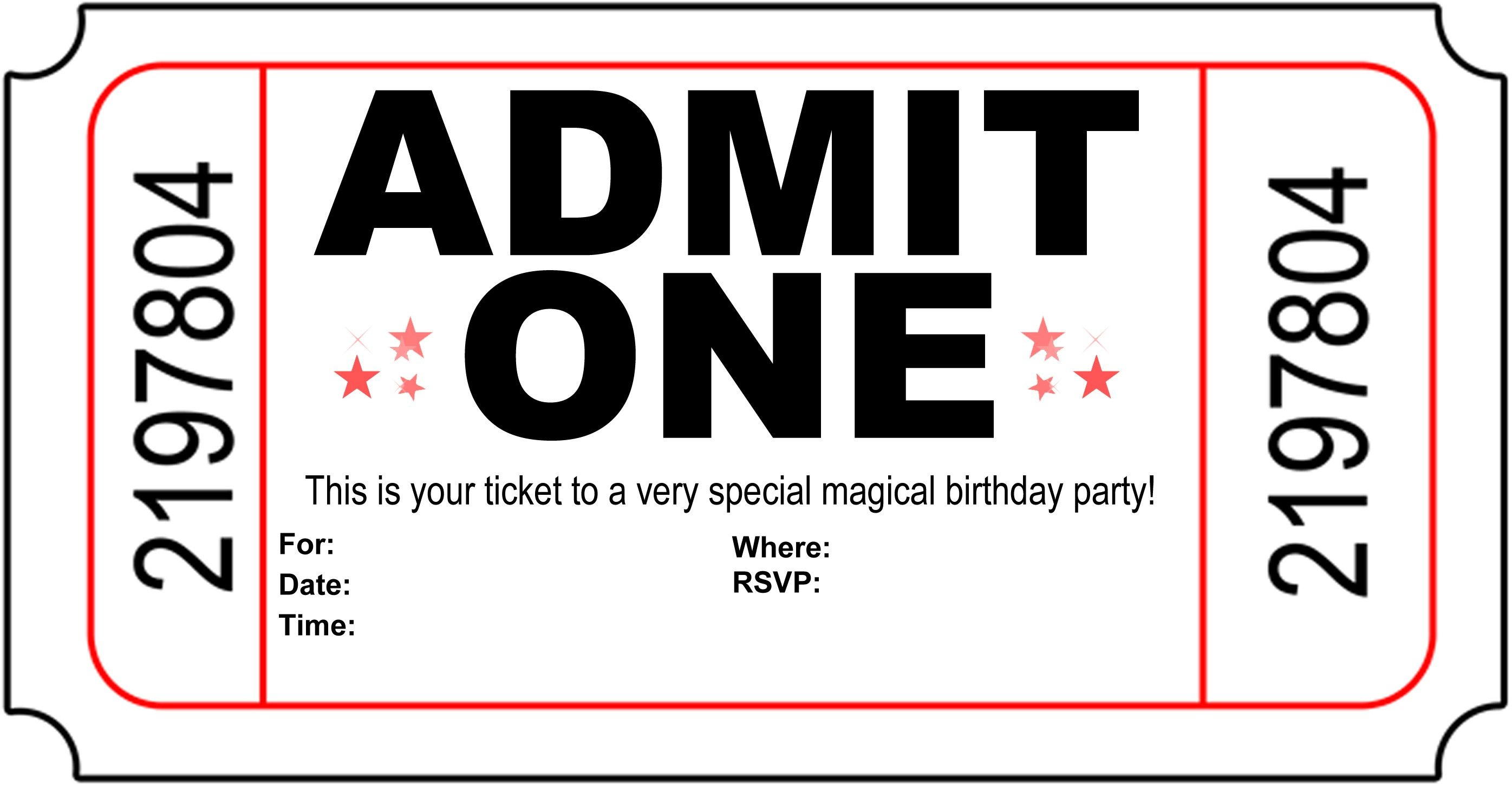 Free Printable Birthday Party Invitations - Kansas Magician | Magic - Free Printable Movie Ticket Birthday Party Invitations