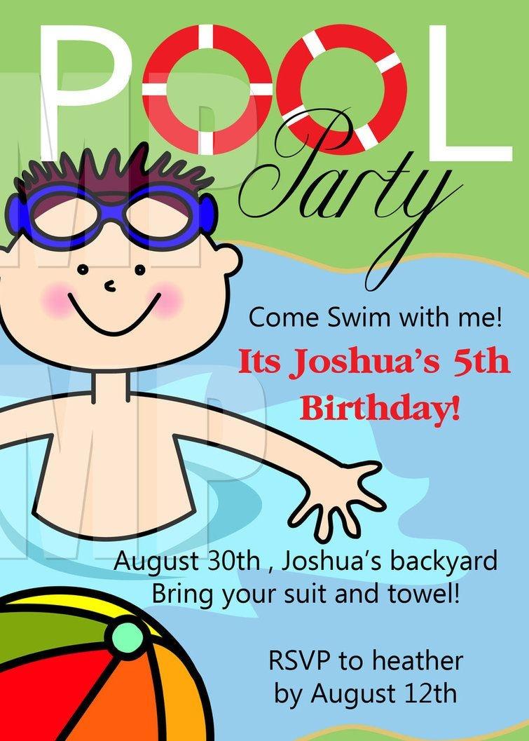 Free Printable Birthday Pool Party Invitations Templates   Niko - Free Printable Pool Party Birthday Invitations