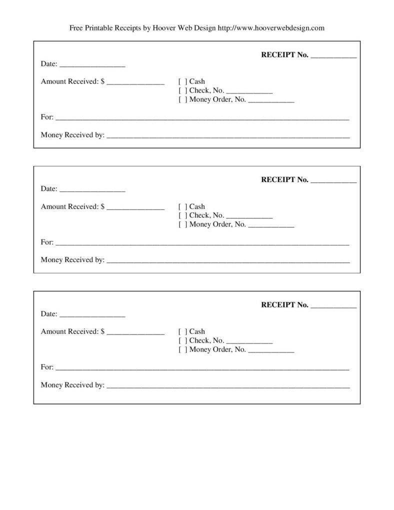 Free-Printable-Blank-Receipt-Form-Template-Page-001 | Template's For - Free Printable Receipts
