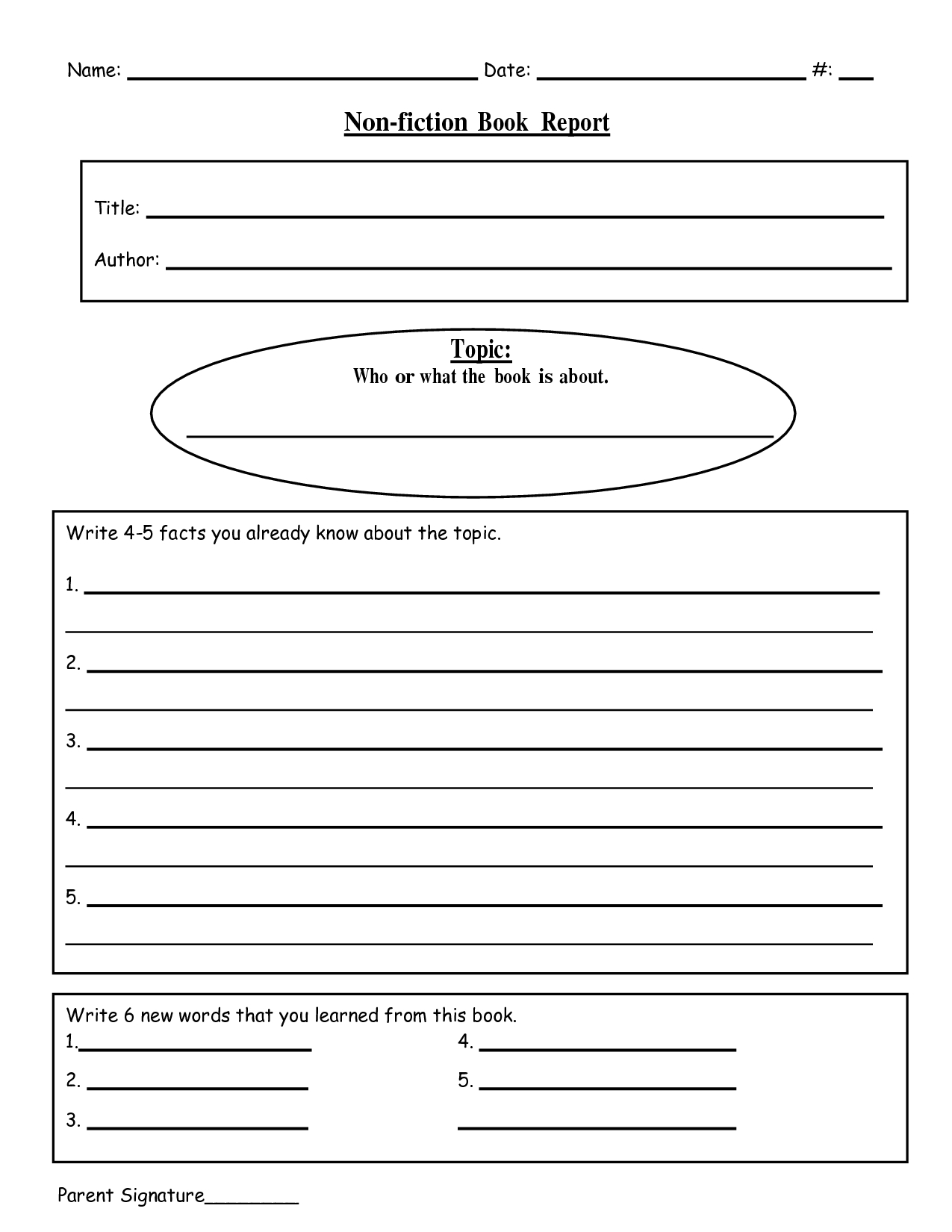 Free Printable Book Report Templates | Non-Fiction Book Report.doc - Free Printable Book Report Forms For Elementary Students