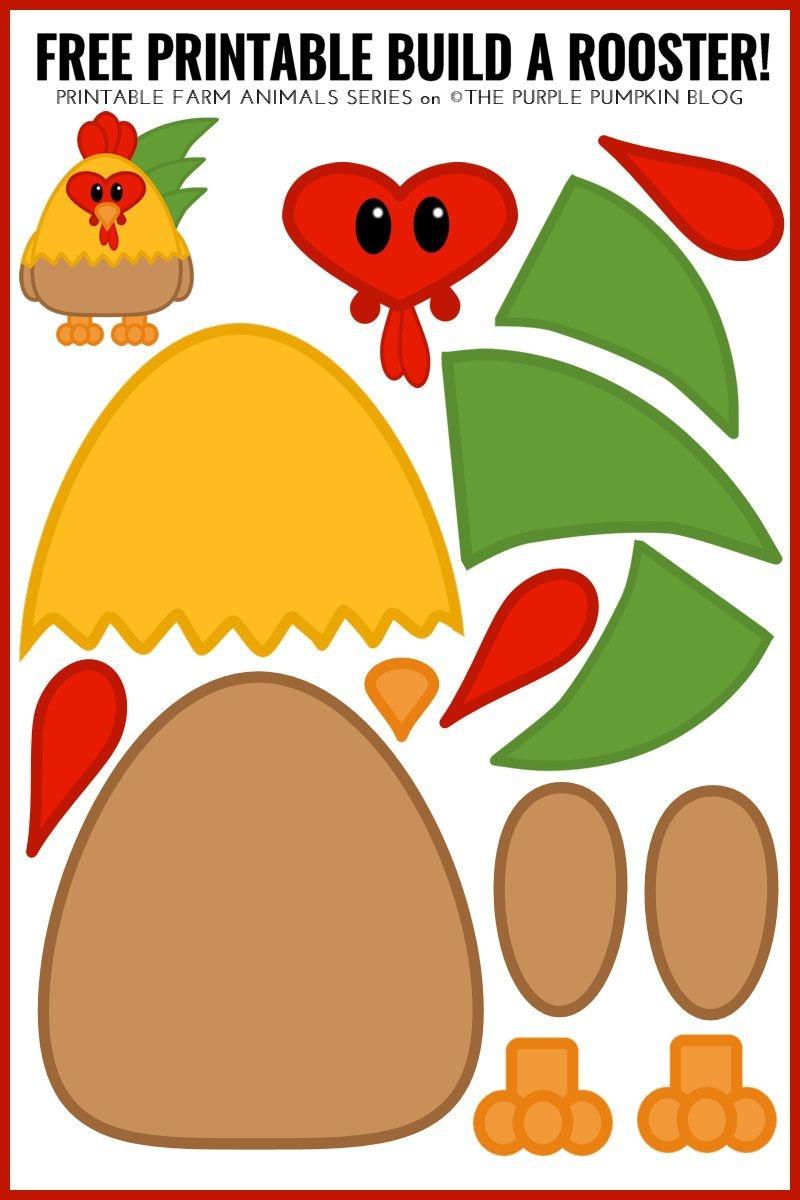 Free Printable Build A Rooster! / Printable Animals Series - Free Printable Farm Animal Cutouts