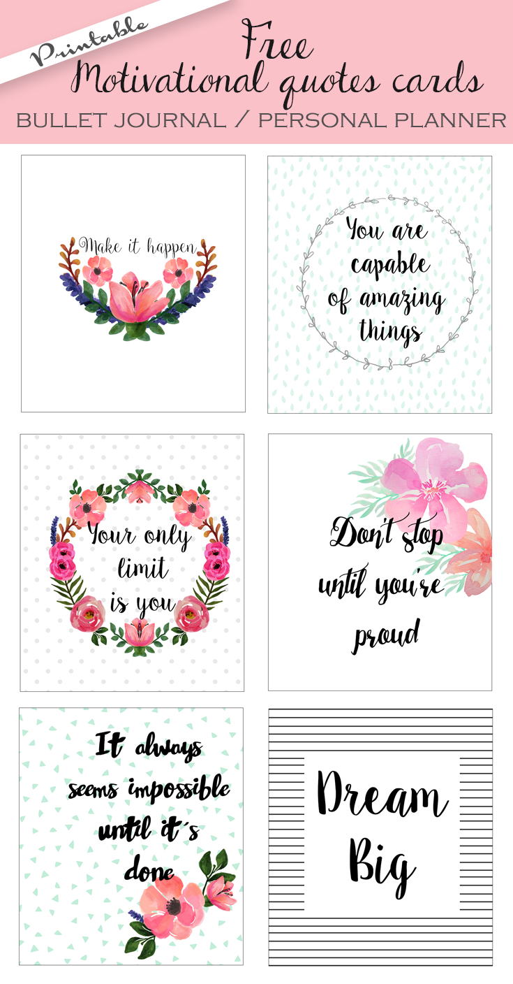 Free Printable Bullet Journal Cards. Personal Planner Cards - Free Printable Personal Cards