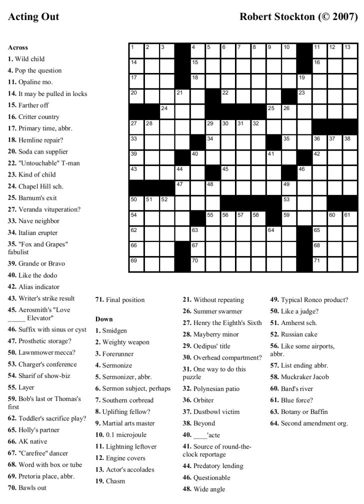 New York Times Crossword Printable Free