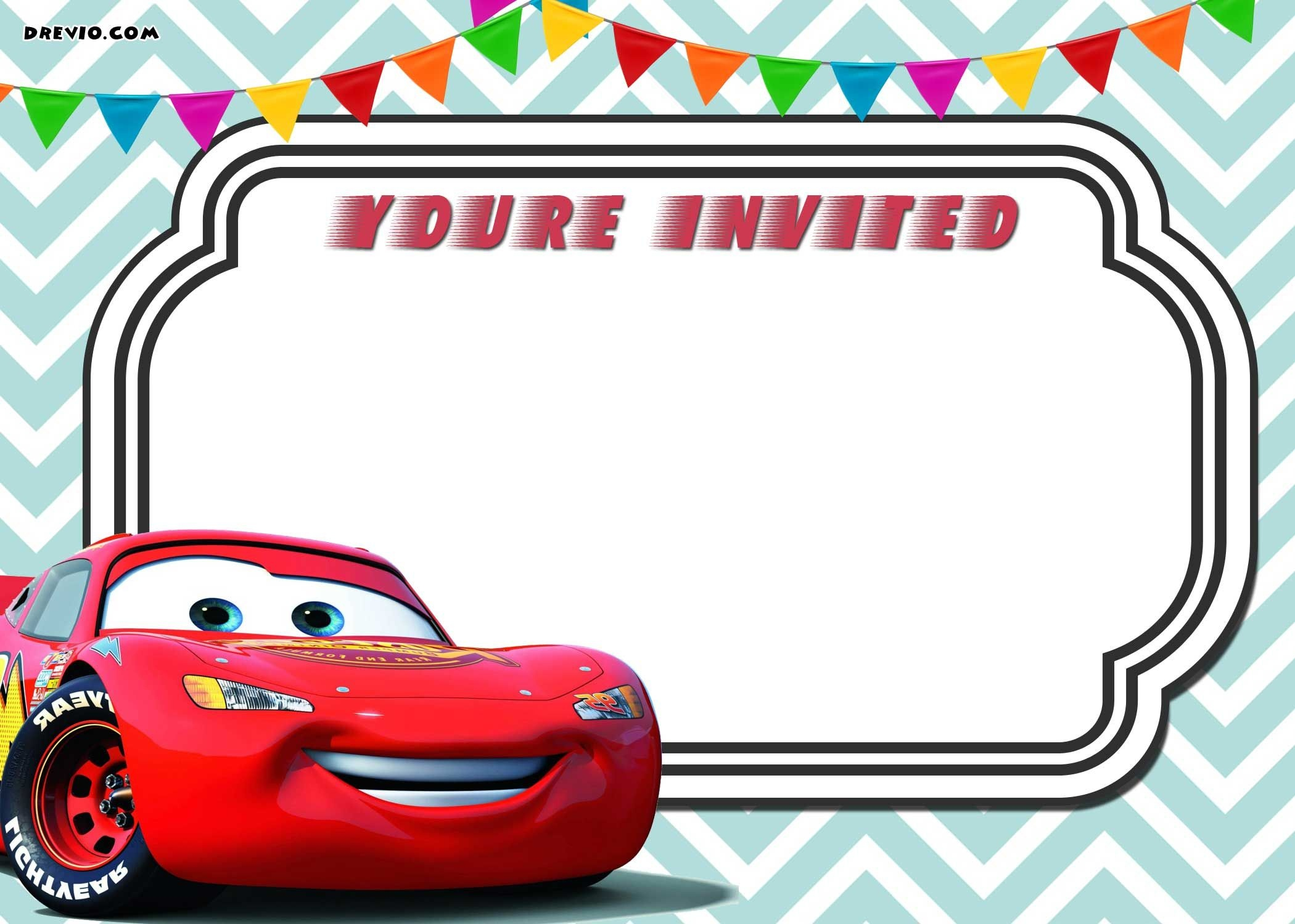 Free Printable Cars 3 Lightning Mcqueen Invitation Template | Free - Free Printable Cars Water Bottle Labels