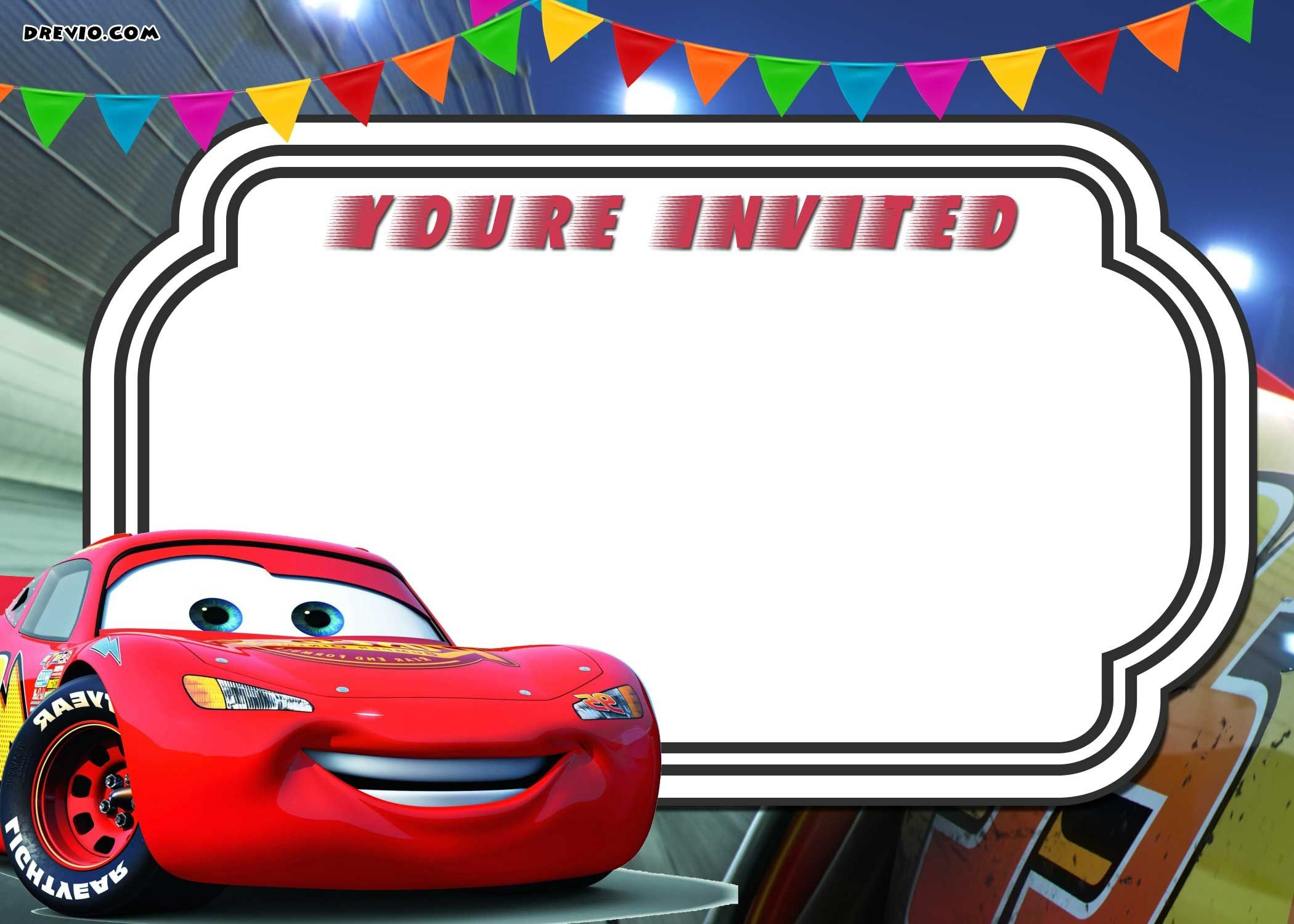 Free Printable Cars 3 Lightning Mcqueen Invitation Template   Go - Free Printable Birthday Invitations Cars Theme