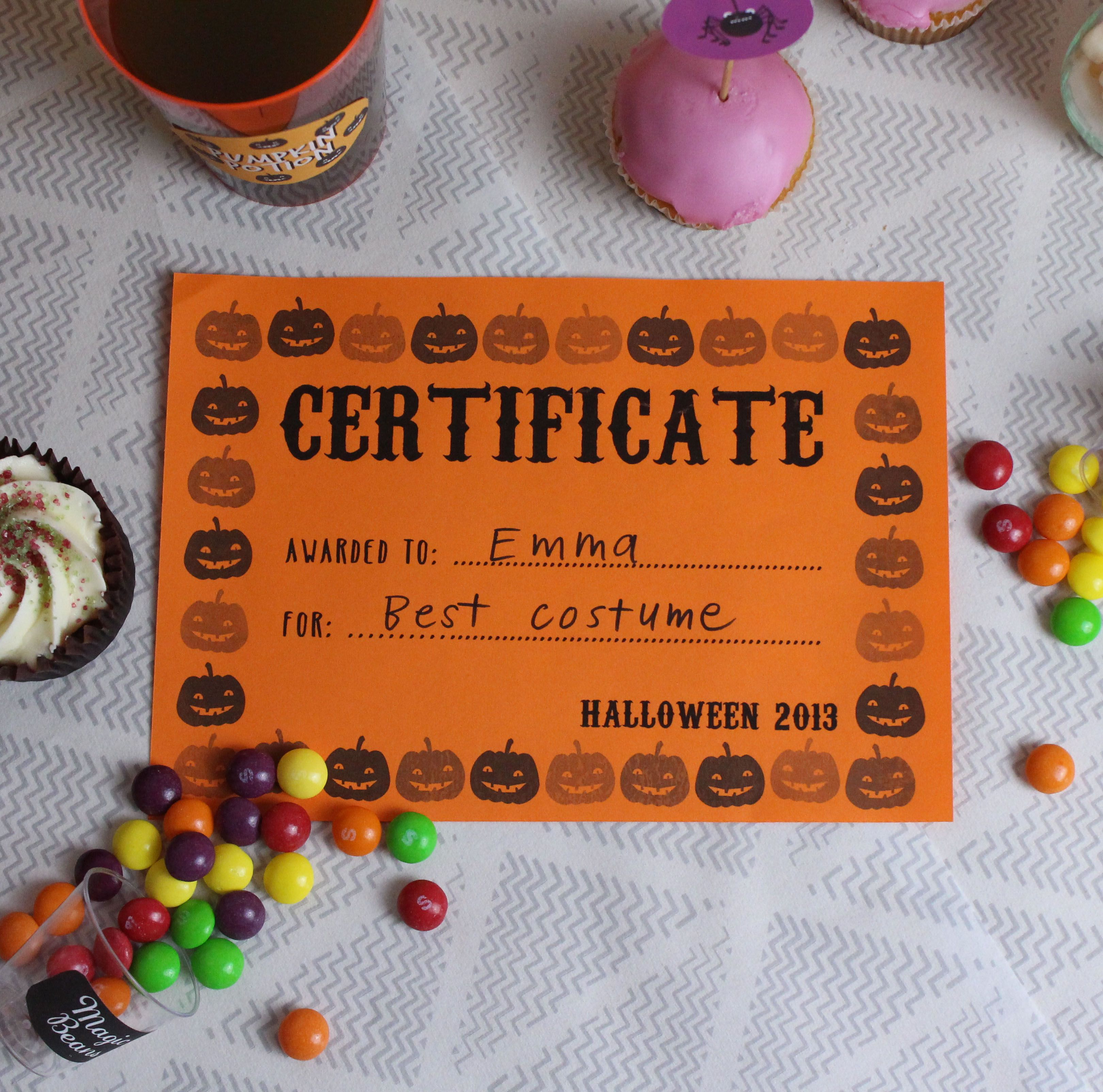 Free Printable Certificates For Halloween!   Our Halloween Party - Best Costume Certificate Printable Free