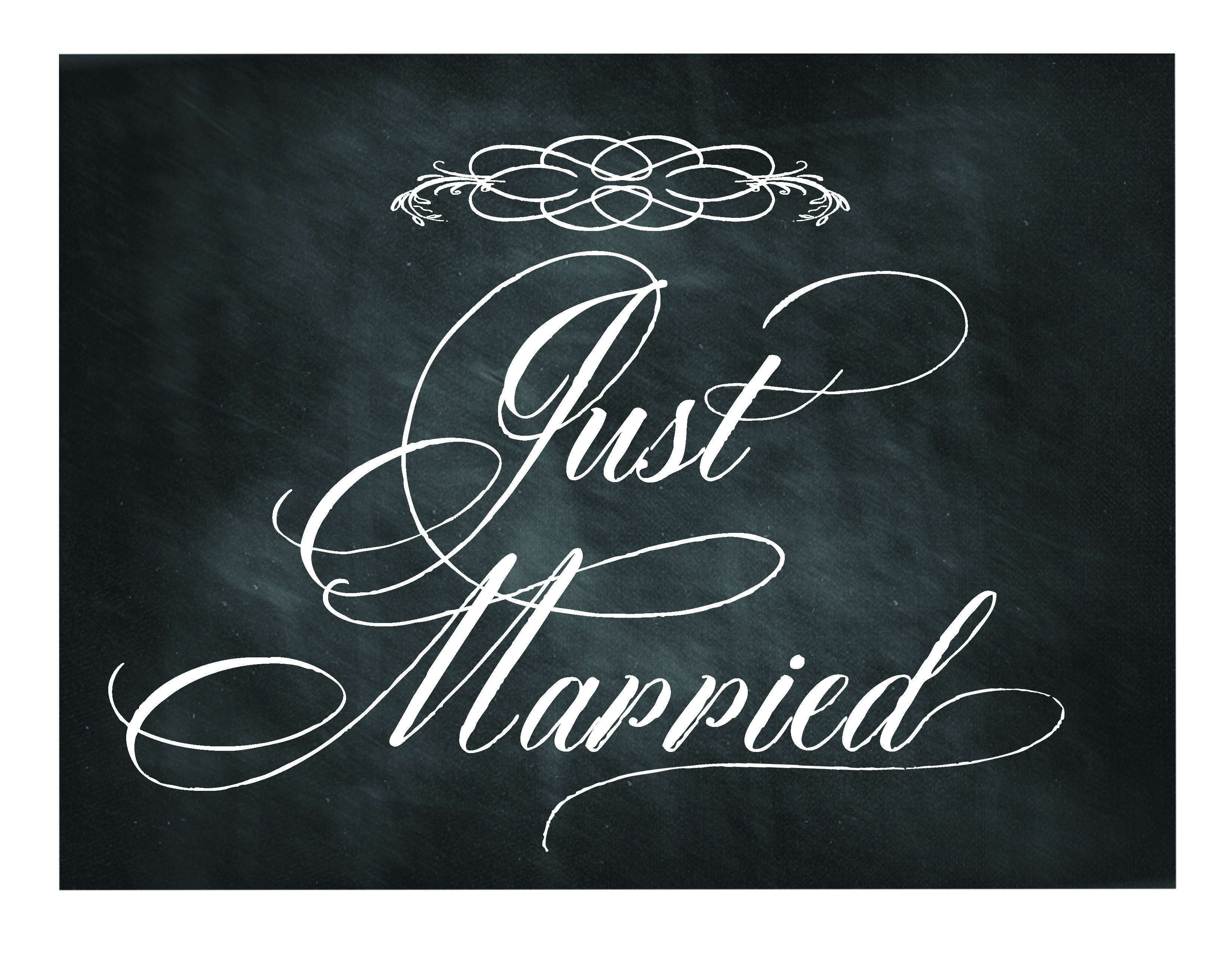Free Printable Chalkboard Sign: Just Married | Domlovesmary Font - Just Married Free Printable