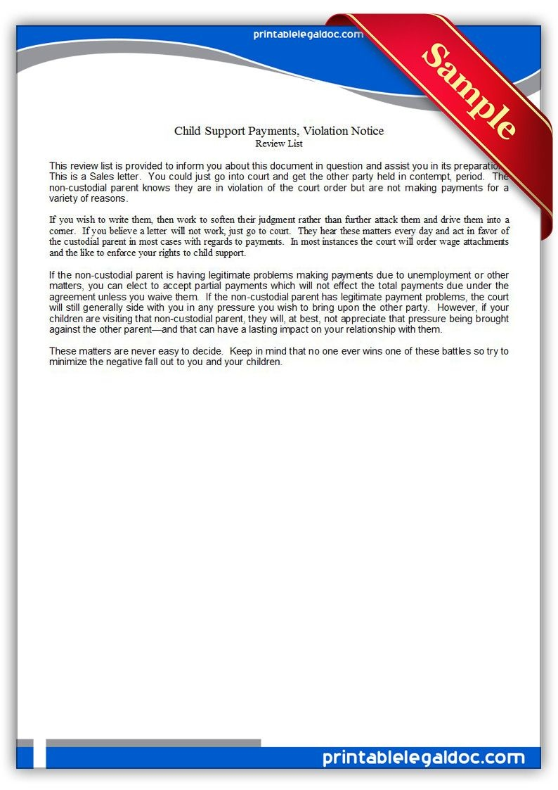 Free Printable Child Support Payments, Viiolation Notice | Sample - Free Printable Divorce Papers Nevada
