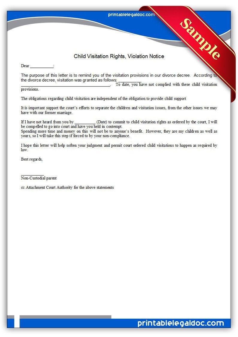 Free Printable Child Visitation Rights, Viiolation Notice   Sample - Free Printable Child Custody Papers