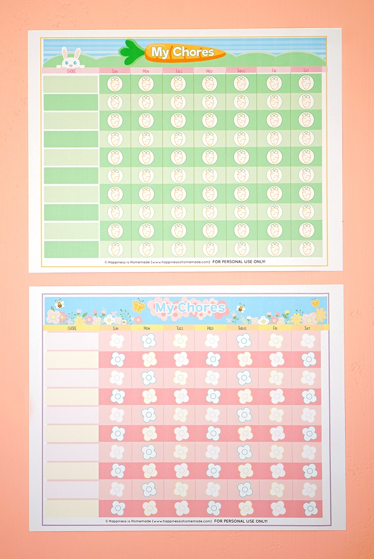 Free Printable Chore Chart For Kids - Happiness Is Homemade - Free Printable Chore Chart Ideas