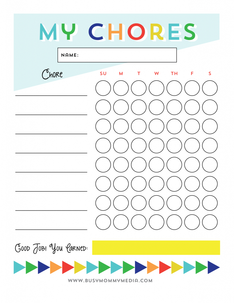 Free Printable - Chore Chart For Kids | Ogt Blogger Friends | Chore - Free Printable Chore Charts