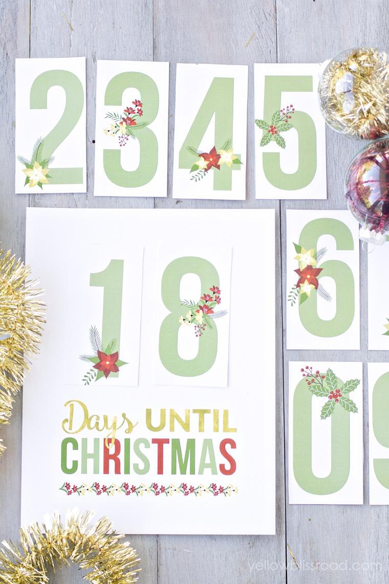 Free Printable Christmas Countdown - Yellow Bliss Road - Christmas Countdown Free Printable