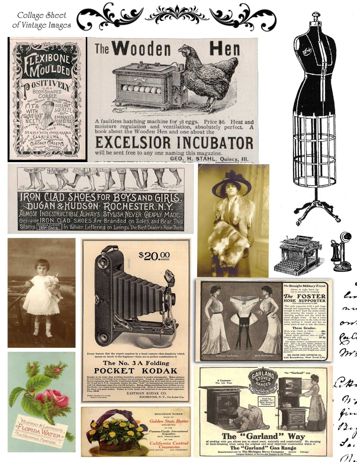 Free Printable Collage Sheets |  Digital Stamps**: Free Vintage - Free Printable Digital Collage Sheets