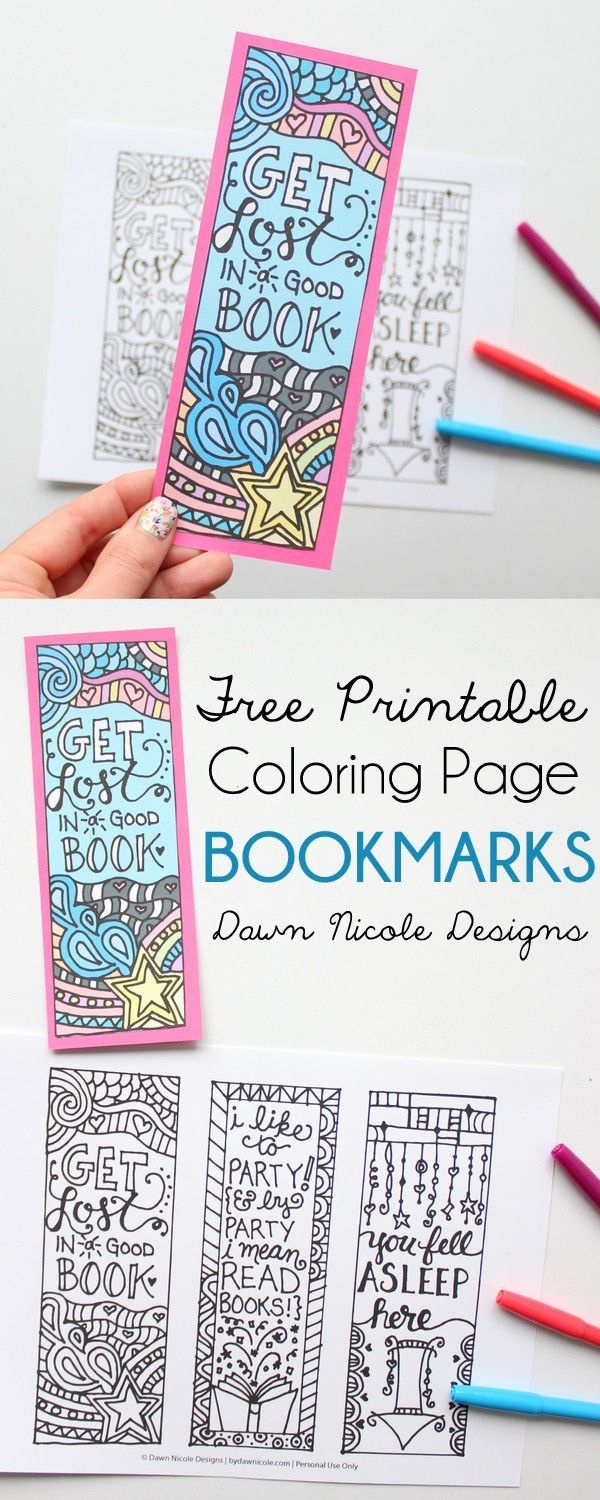Free Printable Coloring Page Bookmarks | Library Ideas | Free Adult - Free Printable Bookmarks For Libraries