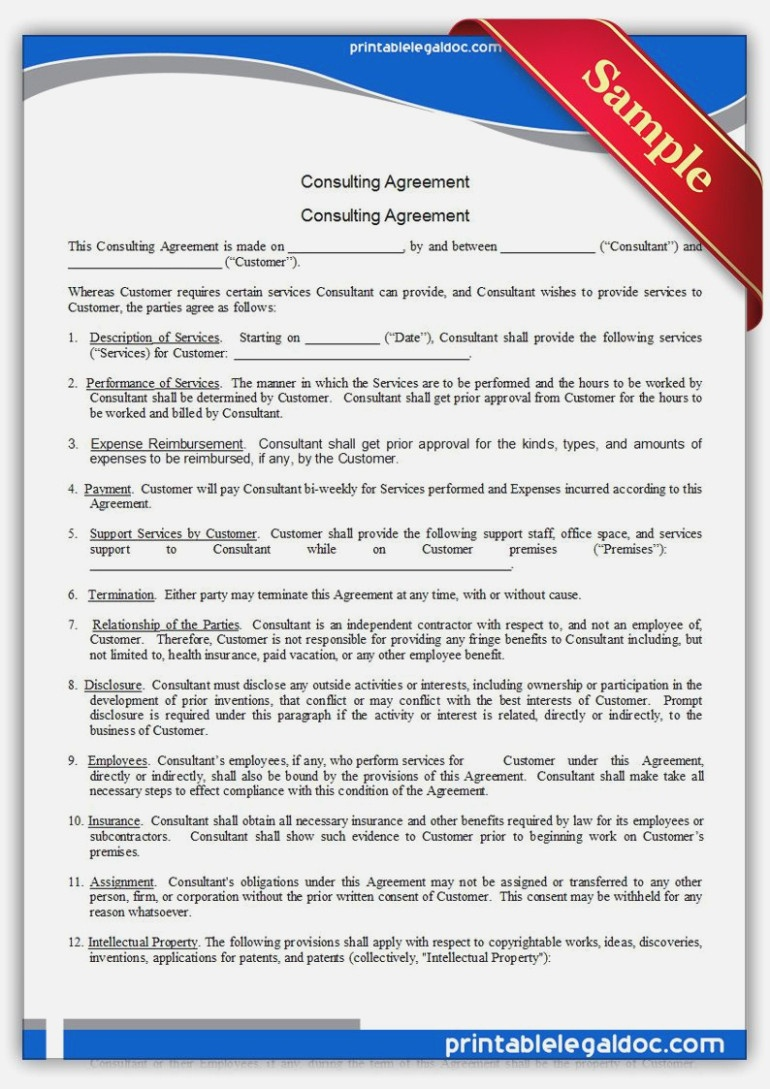 Free Printable Consulting Agreement | Sample Printable Legal Forms - Free Legal Forms Online Printable