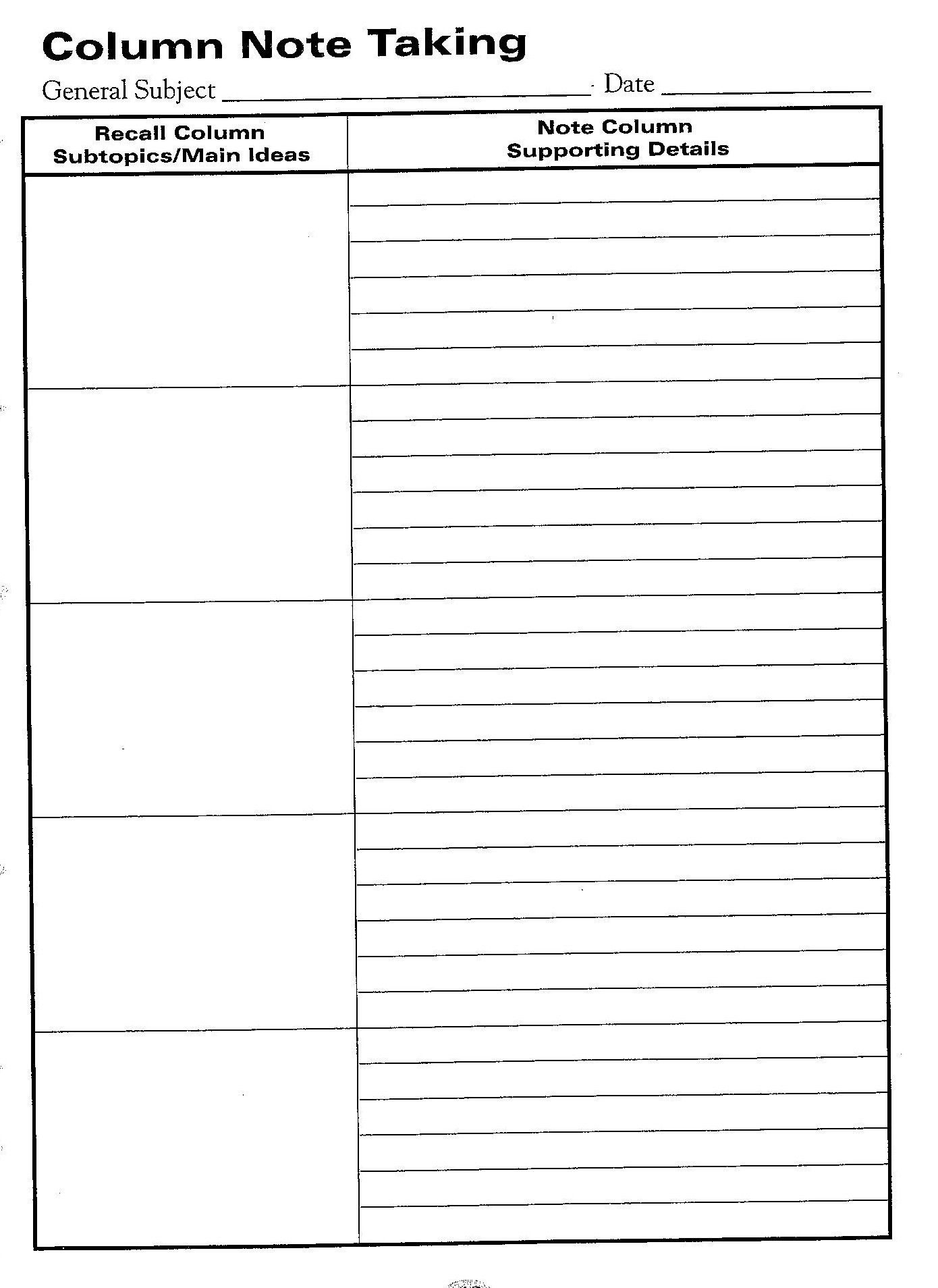 Free Printable Cornell Notes Graphic Organizer |  Comic Note - Free Printable School Notes