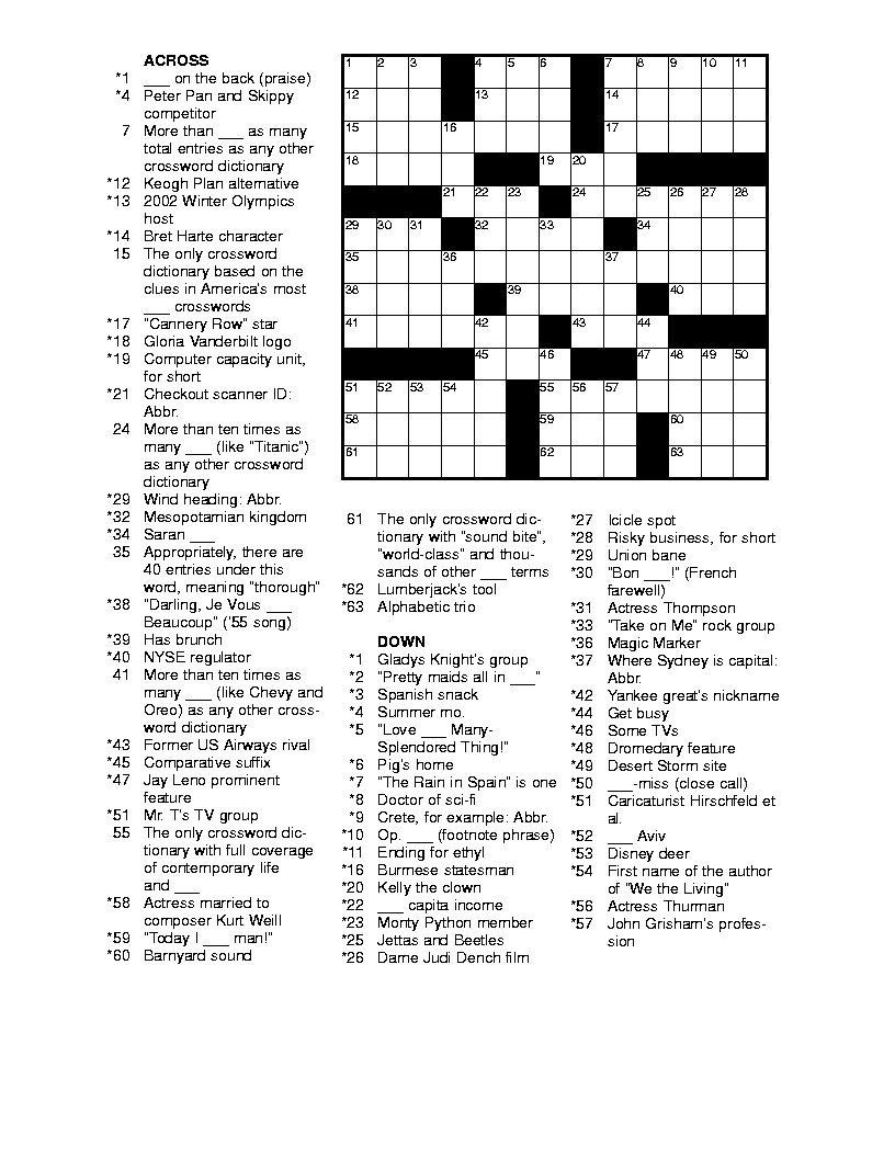 Free Printable Crossword Puzzles For Adults | Puzzles-Word Searches - Free Daily Printable Crosswords