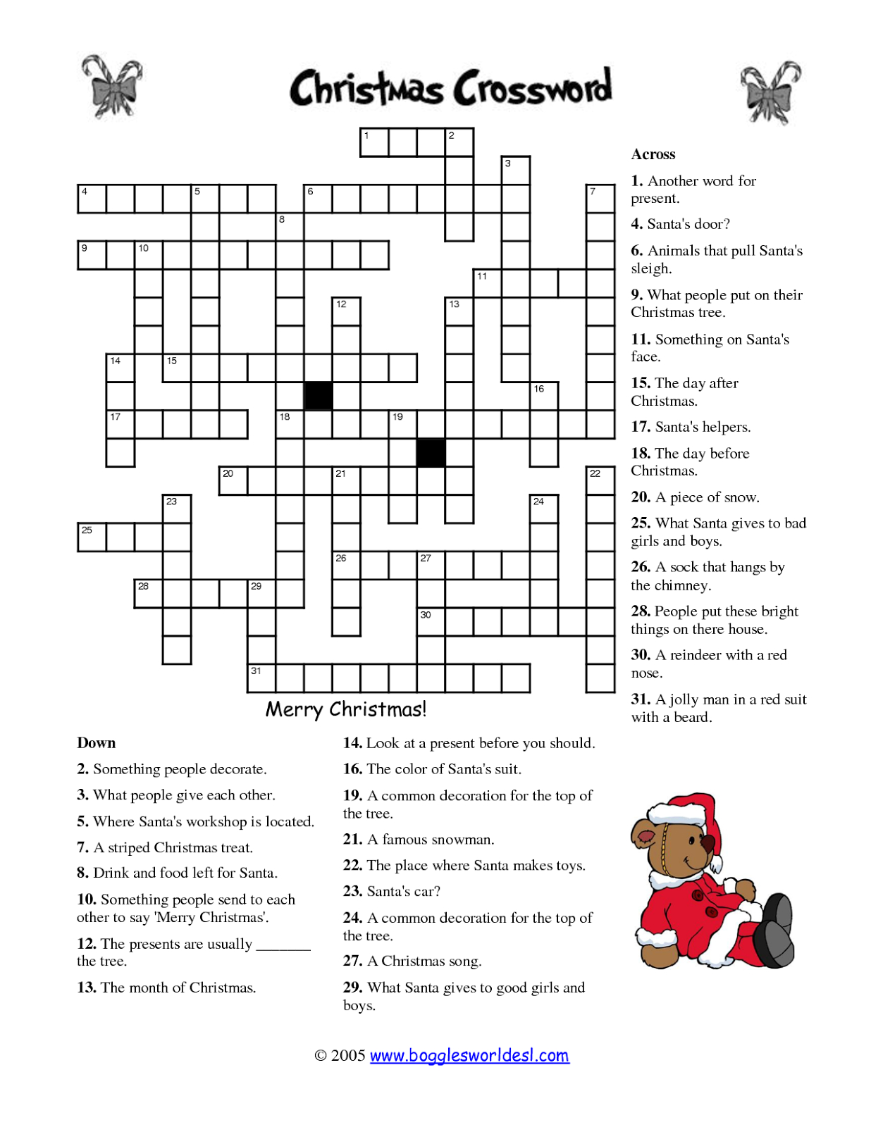 Free Printable Crossword Puzzles   M34   Free Printable Crossword - Free Printable Christmas Puzzles