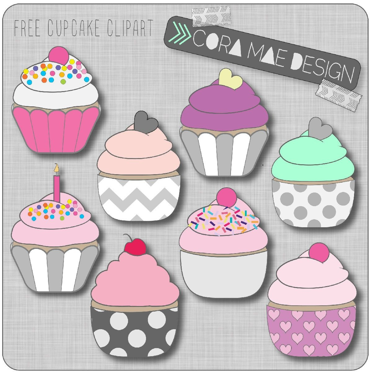 Free Printable Cupcake Clipart For Junk Journals, Art Journals Or - Free Printable Cupcake Clipart