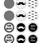 Free Printable Cupcake Toppers Mustache Party, Little Man Baby   Free Printable Mustache