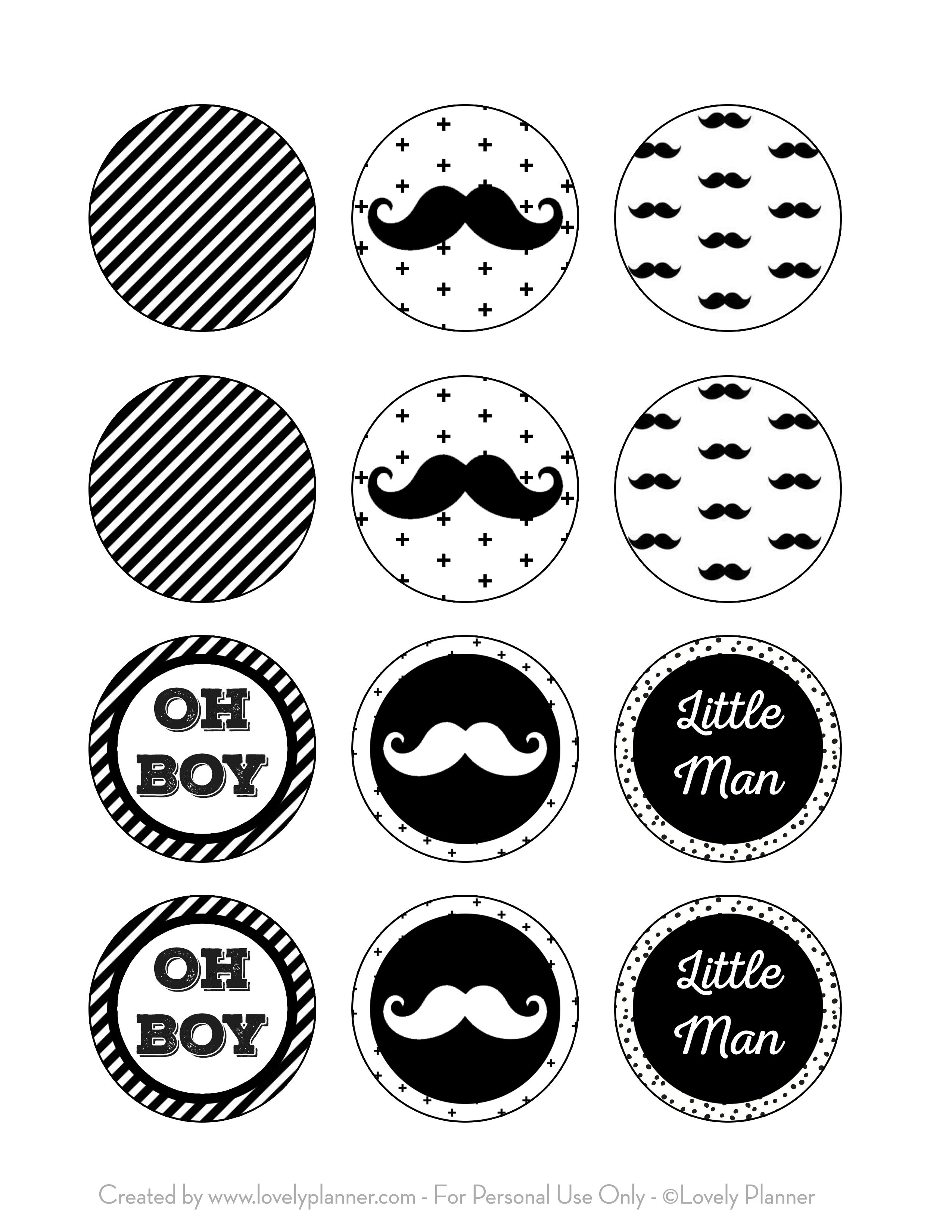 Free Printable Cupcake Toppers Mustache Party, Little Man Baby - Free Printable Mustache