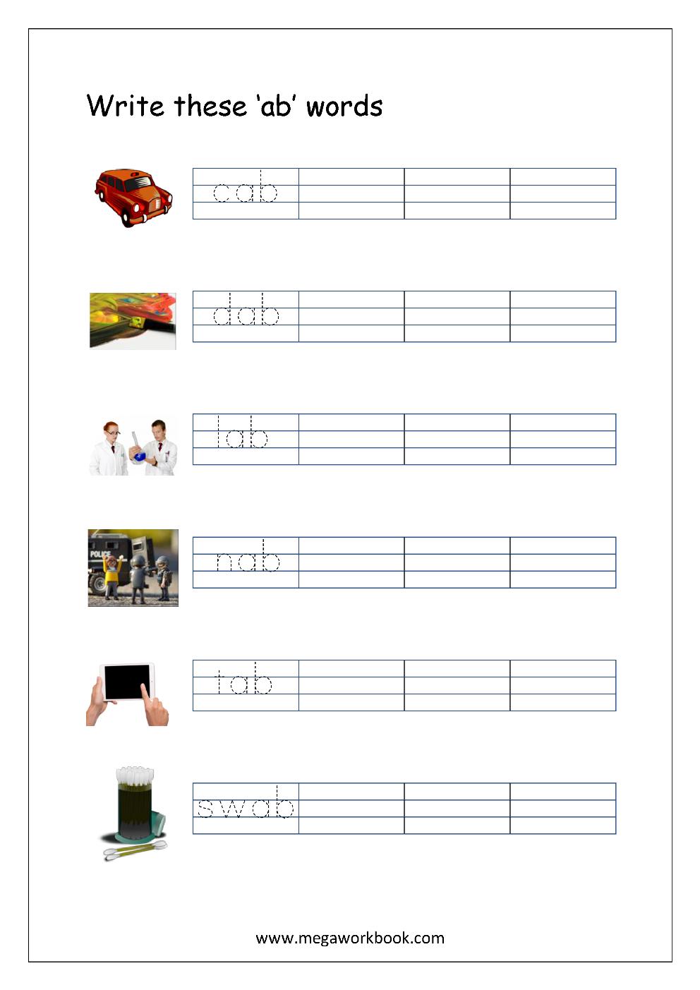 Free Printable Cvc Words Writing Worksheets For Kids - Three Letter - Cvc Words Worksheets Free Printable