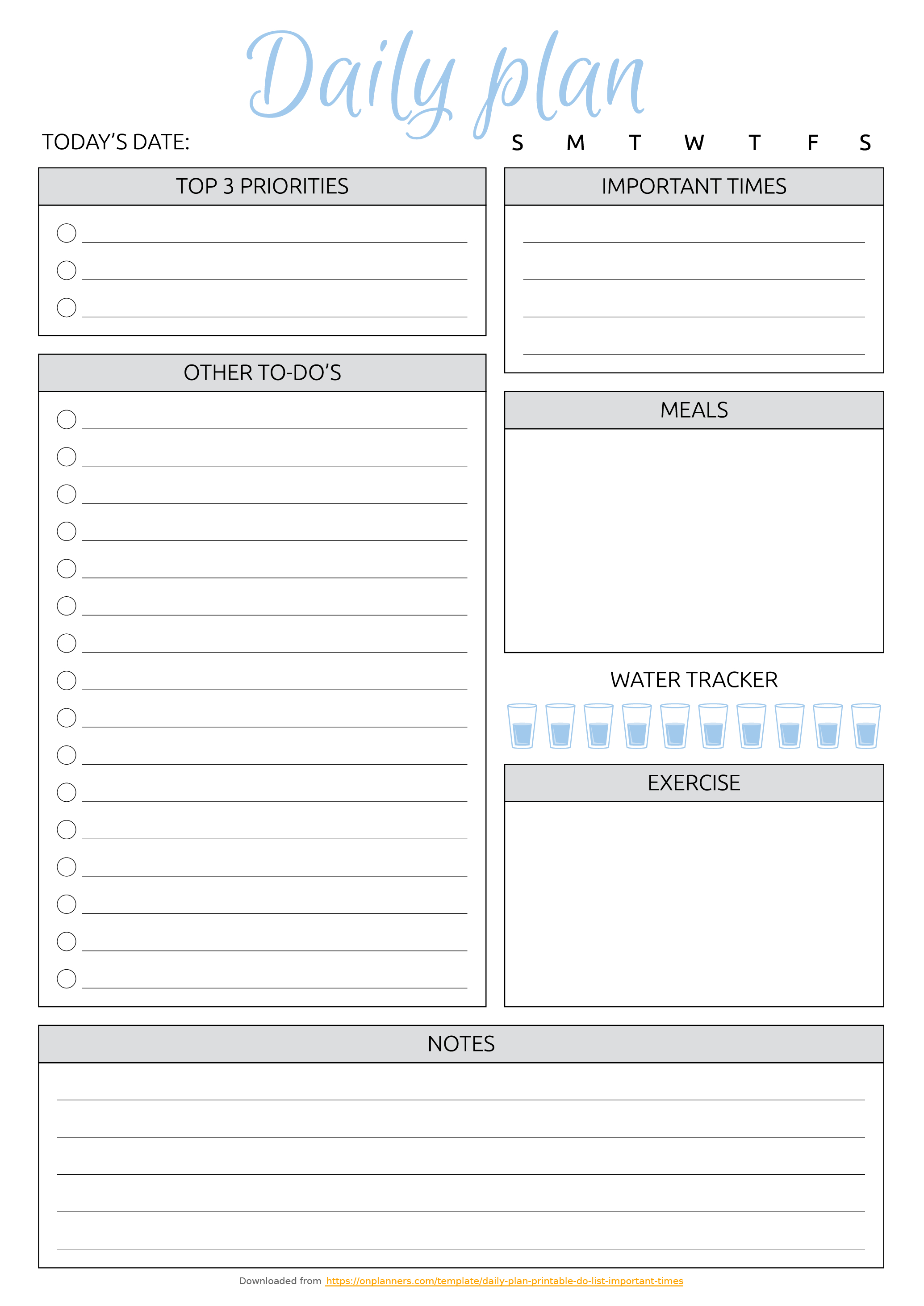 Free Printable Daily Plan With To-Do List & Important Times Pdf Download - Free Printable To Do List Pdf