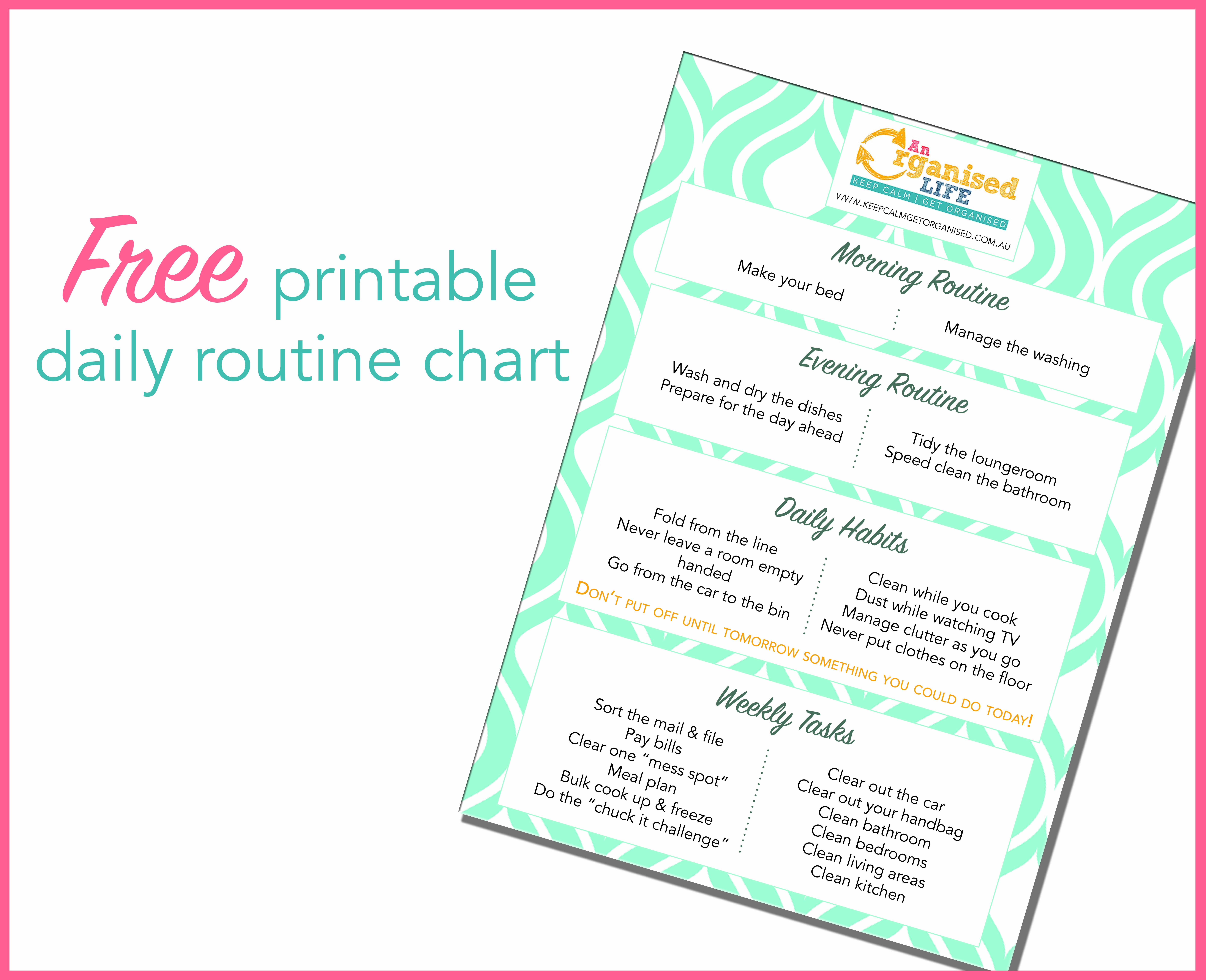 Free Printable Daily Routine Chart | Keep Calm Get Organised - Free Printable Morning Routine Chart