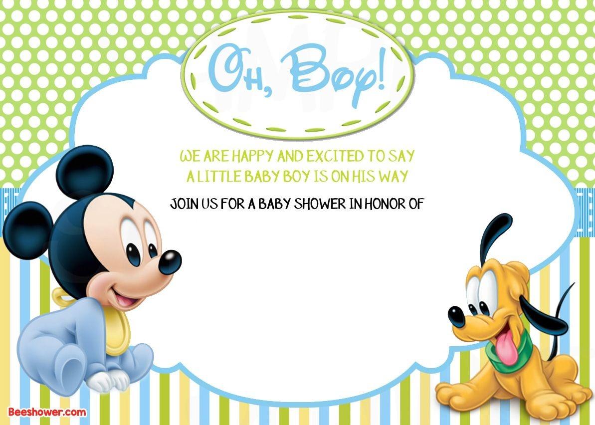 Free Printable Disney Baby Shower Invitations   Baby Shower   Mickey - Free Printable Tinkerbell Baby Shower Invitations