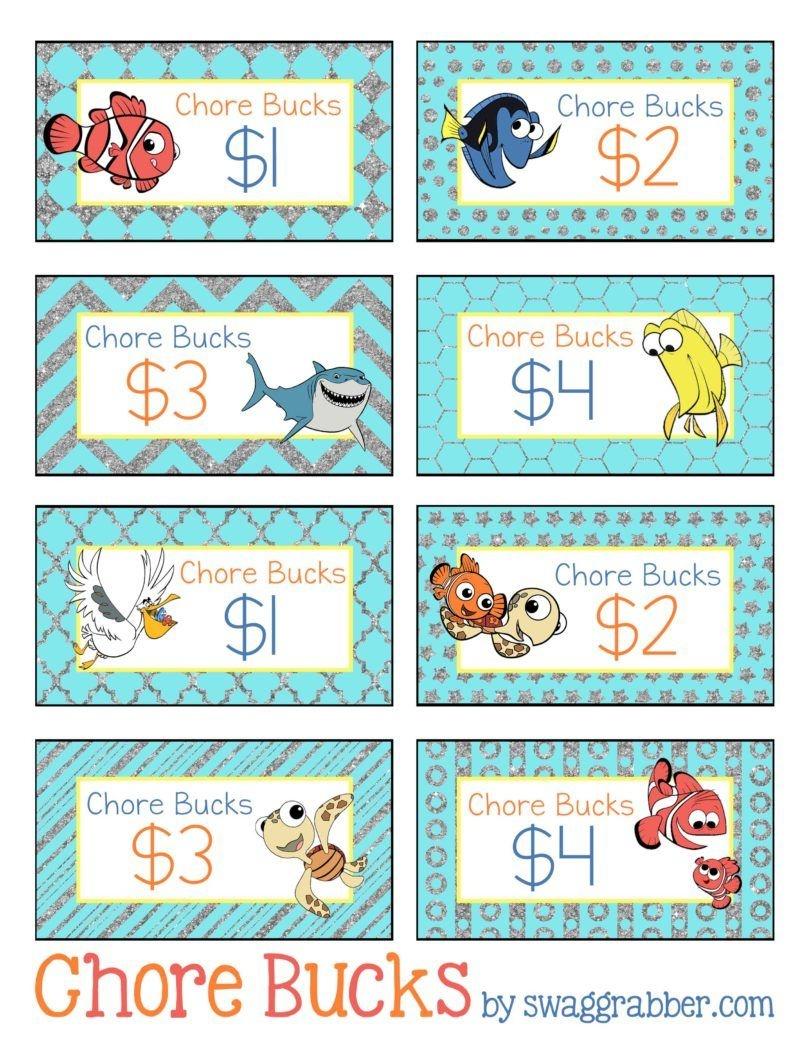 Free Printable Disney Finding Nemo Chore Bucks | All About The - Free Printable Chore Bucks