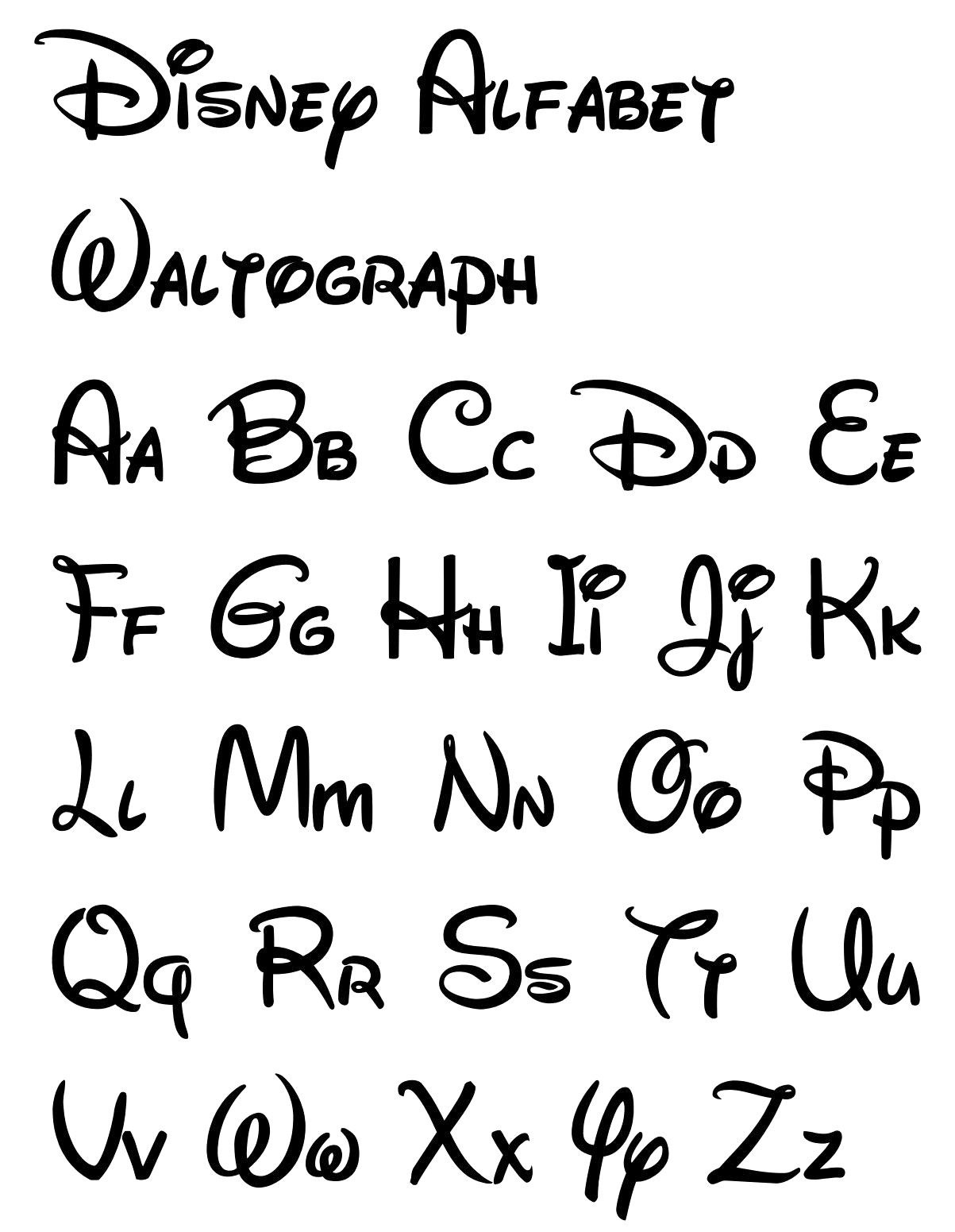 Free Printable Disney Letter Stencils | Calligraphy In 2019 | Disney - Free Printable Calligraphy Letter Stencils