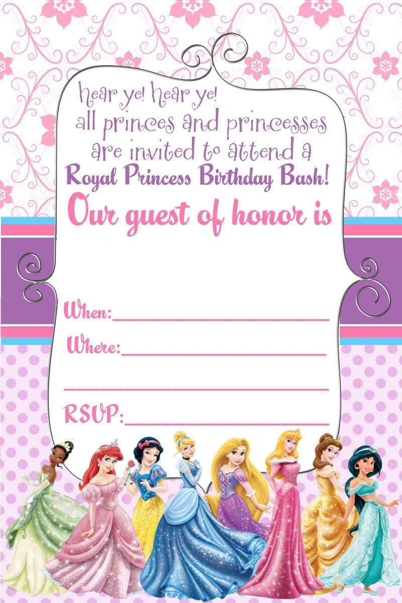 Free Printable Disney Princess Ticket Invitation | Printable - Free Printable Princess Invitations
