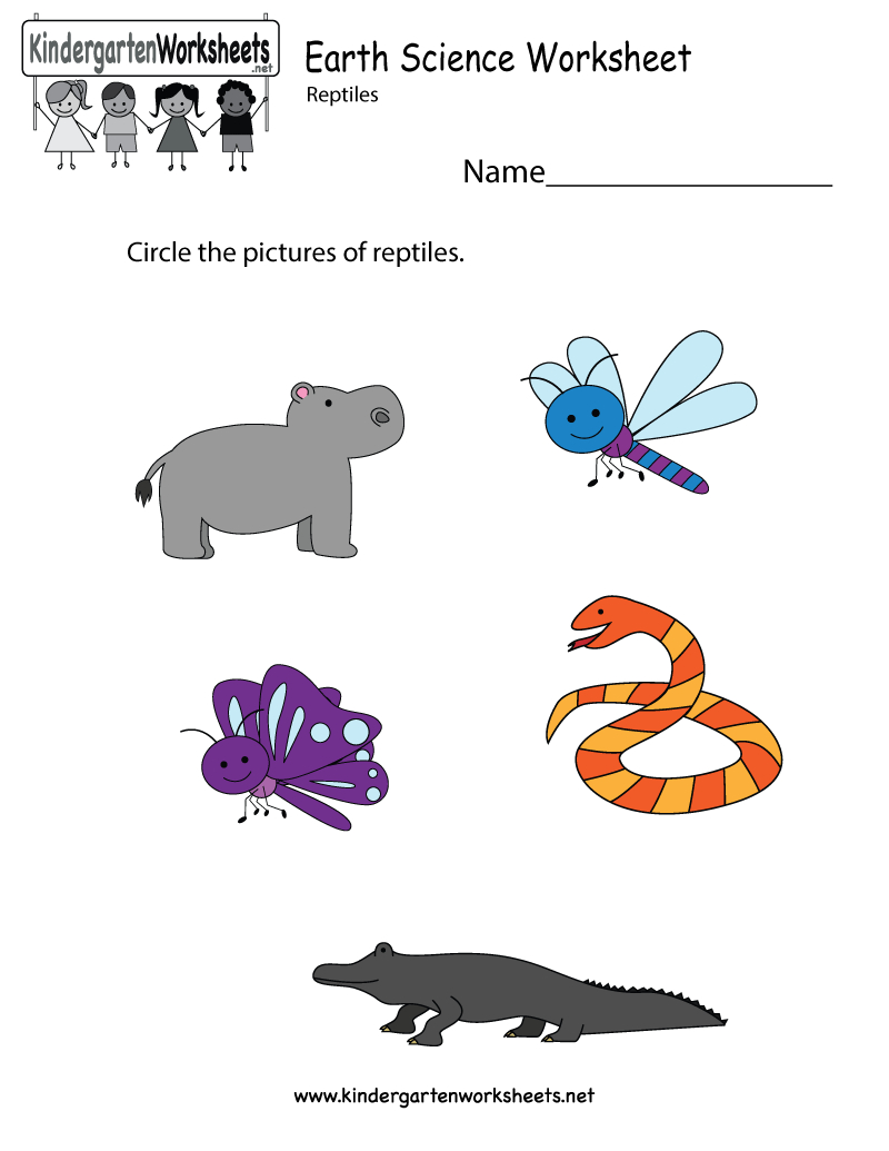 Free Printable Earth Science Worksheet For Kindergarten - Free Printable Reptile Worksheets