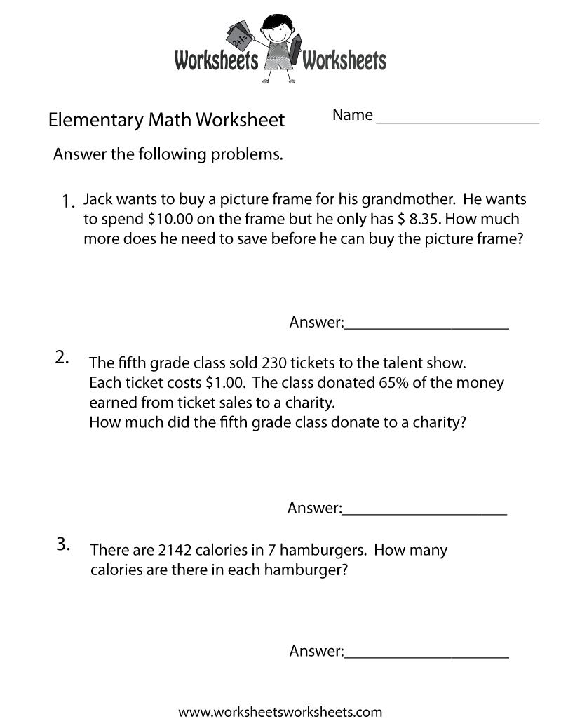 Free Printable Elementary Math Word Problems Worksheet - Free Printable Math Word Problems