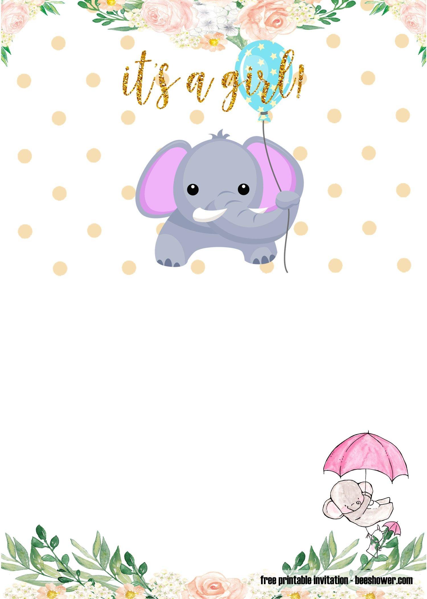 Free Printable Elephant Baby Shower Invitations   Stuff   Baby - Free Printable Elephant Baby Shower