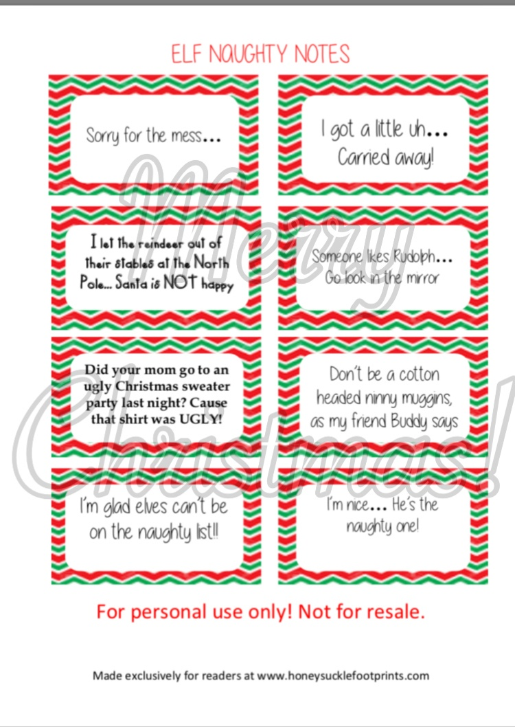 Free Printable - Elf On The Shelf Naughty Cards - Honeysuckle Footprints - Free Printable Elf On The Shelf Notes