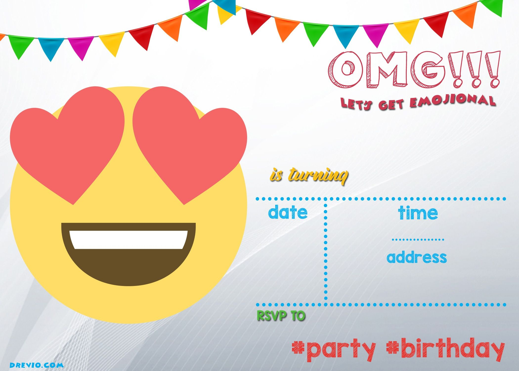 Free Printable Emoji Invitation | Free Printable Birthday - Free Printable Emoji B Day Invites