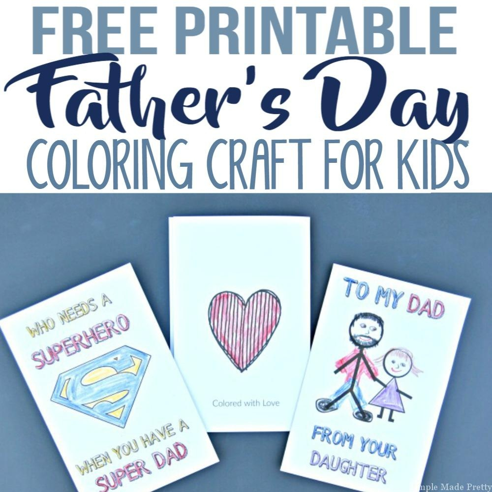 Free Printable Father's Day Greeting Cards Coloring Craft For Kids - Free Printable Fathers Day Cards For Preschoolers
