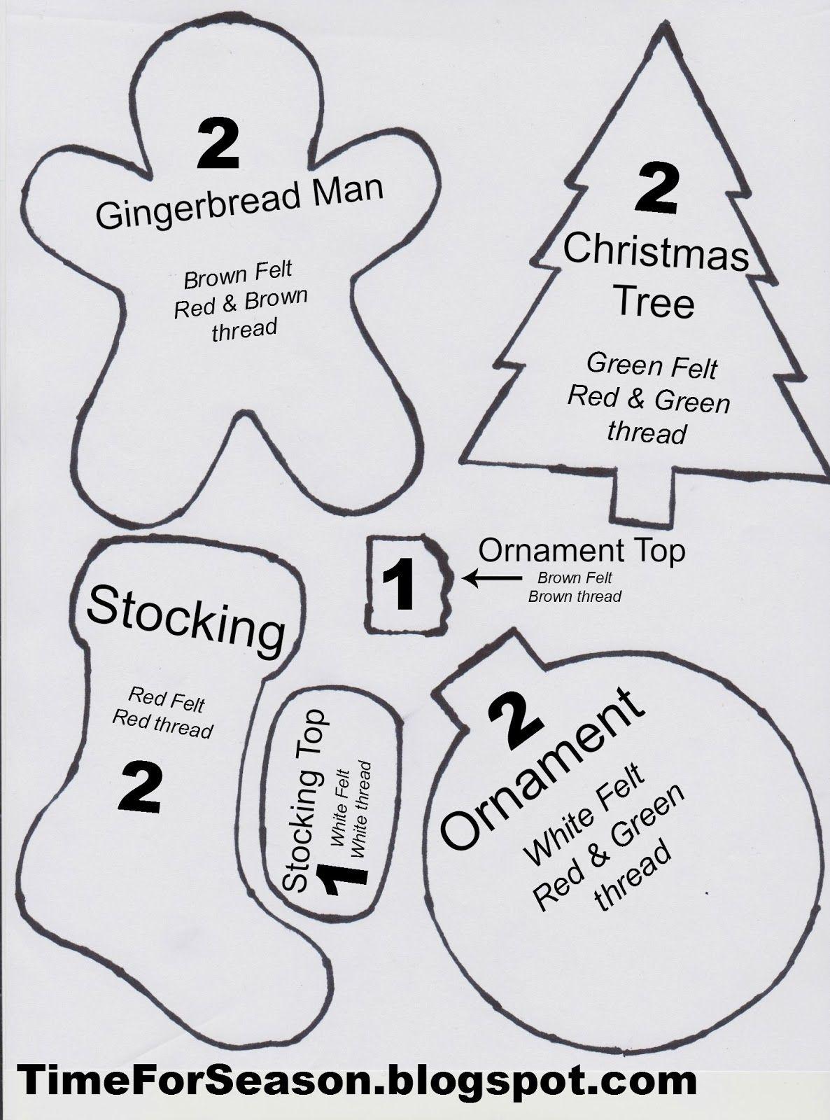 Free Printable Felt Christmas Ornament Patterns   Crafts   Printable - Free Printable Christmas Ornament Patterns