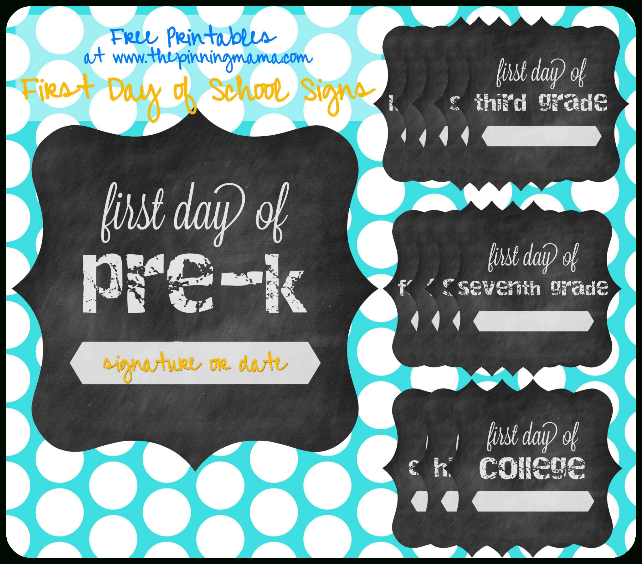 Free Printable} First Day Of School Chalkboard Sign • The Pinning Mama - Free Printable First Day Of School Chalkboard Signs