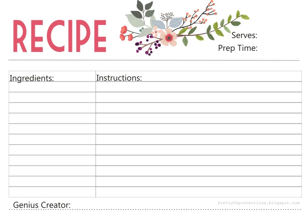 Free Printable : Floral Recipe Card - Free Printable Recipes