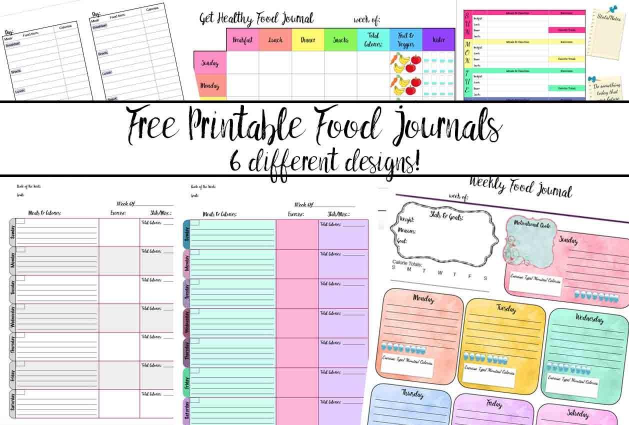 Free Printable Food Journal: 6 Different Designs - Diet Logs Printable Free