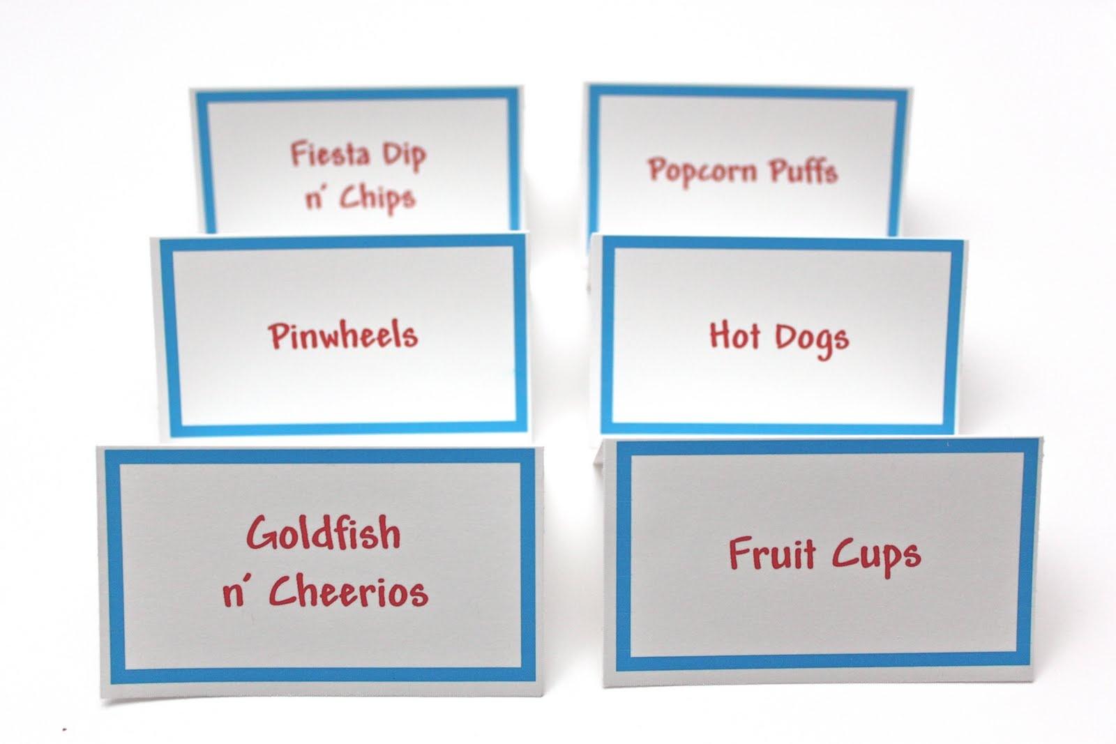 Free Printable Food Tent Cards - Printable Cards - Free Printable Food Tent Cards