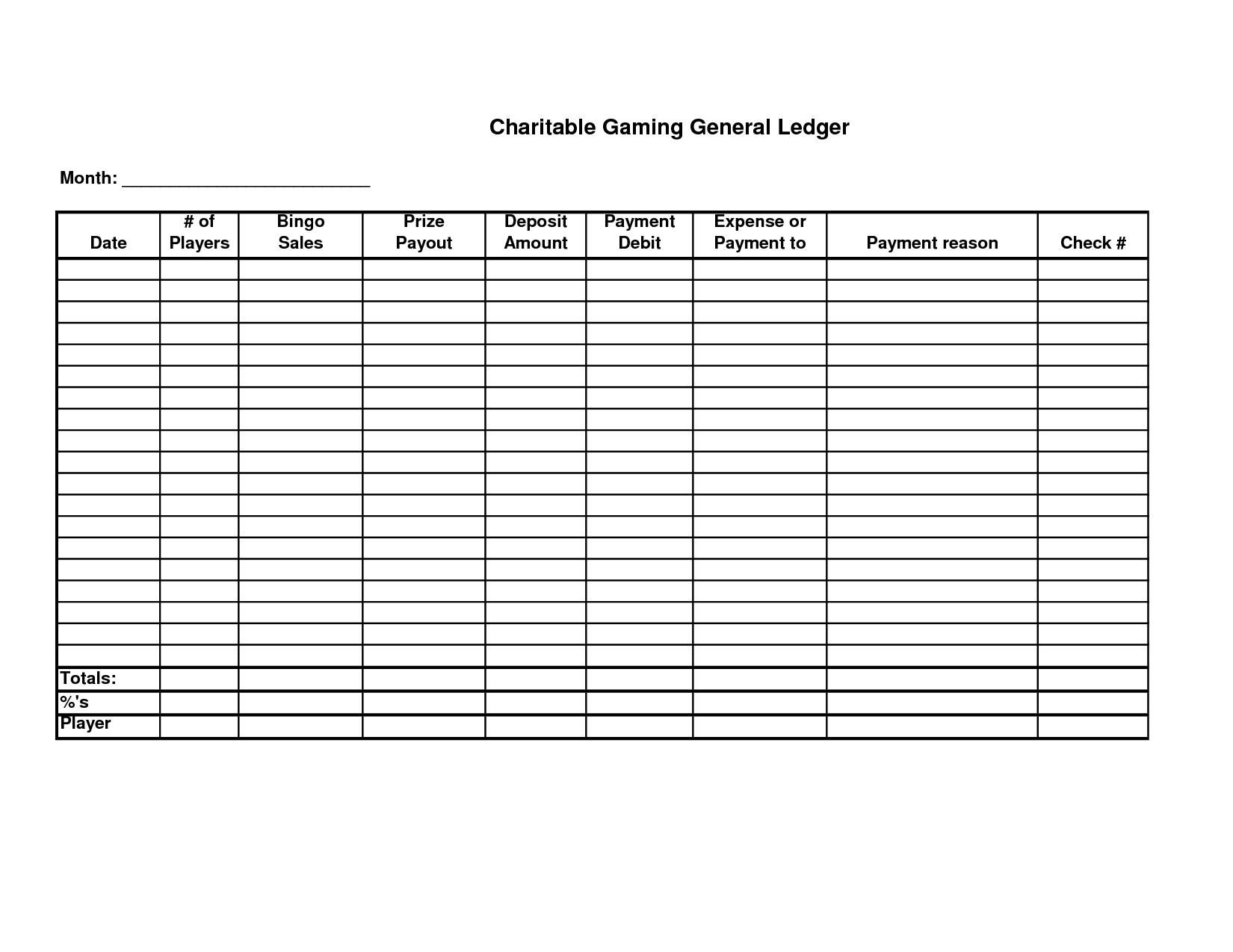 Free Printable General Ledger Sheet | Homemade Stuff | General - Free Printable Ledger Sheets