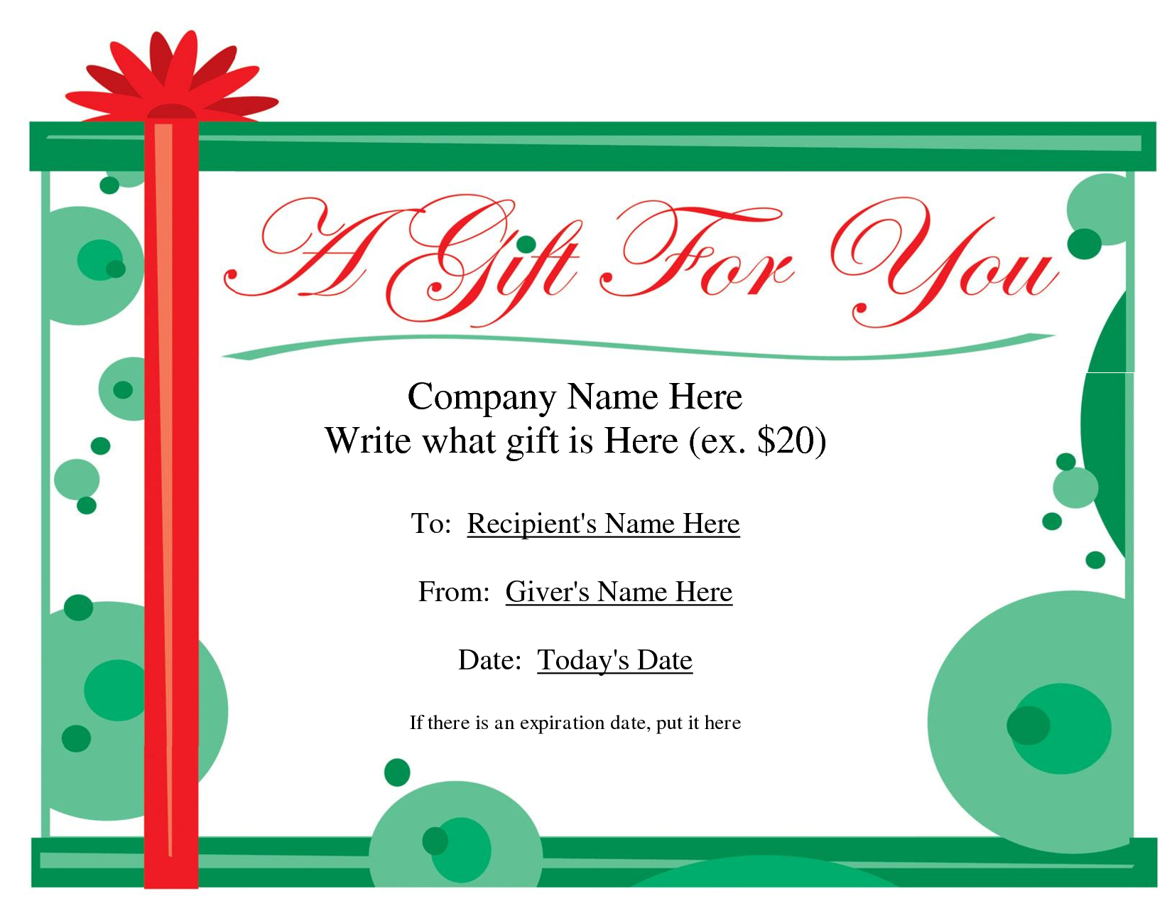 Free Printable Gift Certificate Template | Free Christmas Gift - Free Printable Gift Certificates