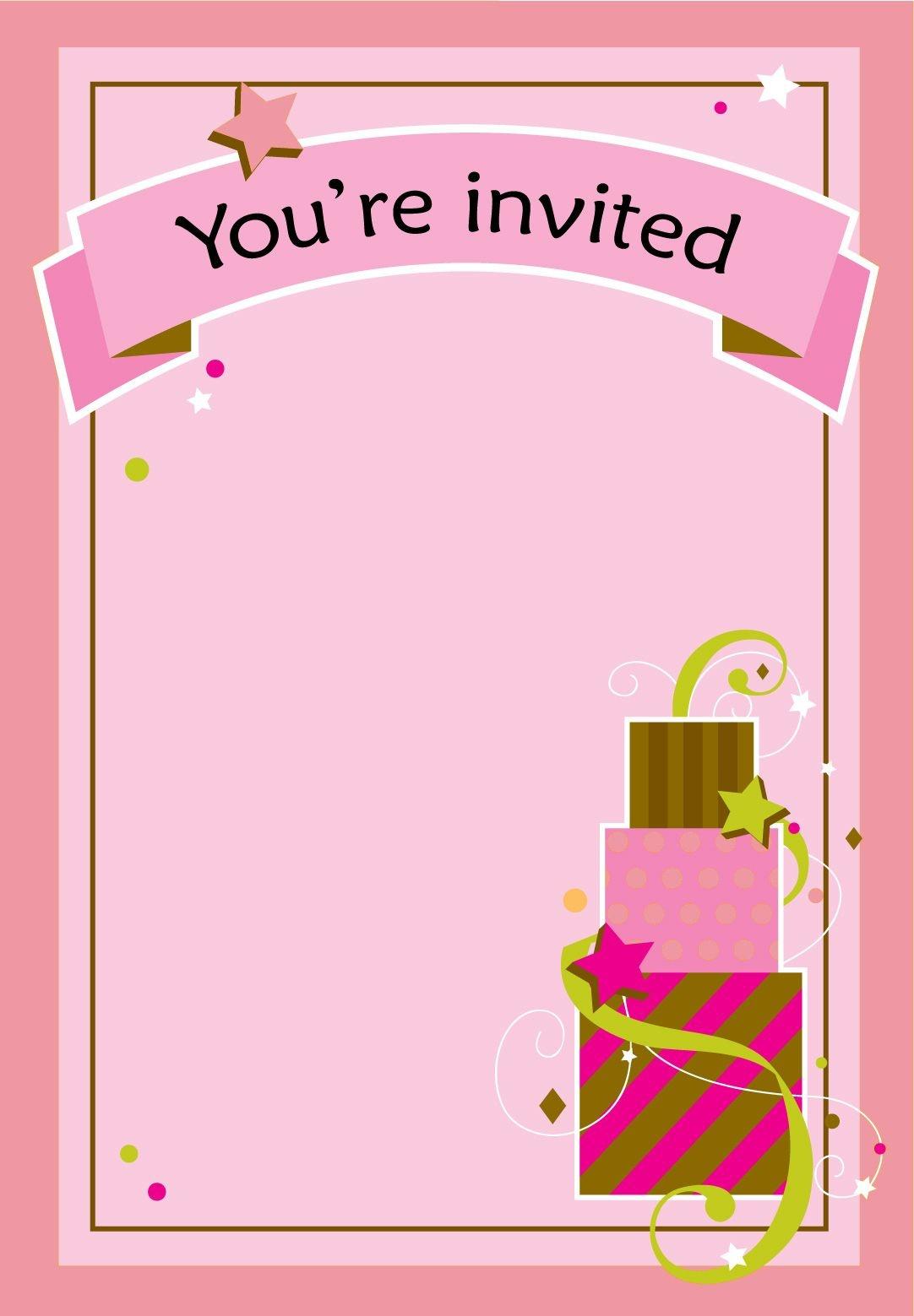 Free Printable Girl Fun Birthday Invitation   Cake & Cupcakes   Free - Free Printable Girl Birthday Invitations