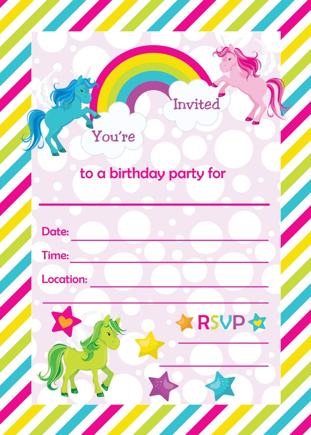 Free Printable Golden Unicorn Birthday Invitation Template - Free Printable Unicorn Birthday Invitations
