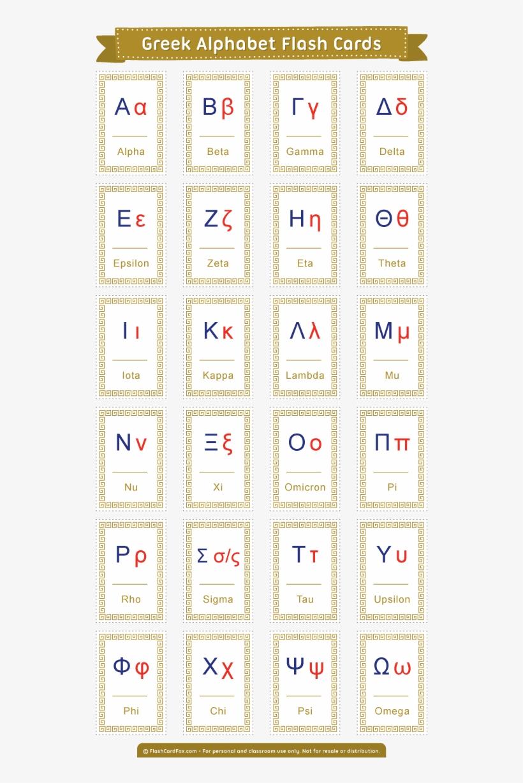 Free Printable Greek Alphabet Flash Cards - Koine Greek Alphabet - Free Printable Greek Letters
